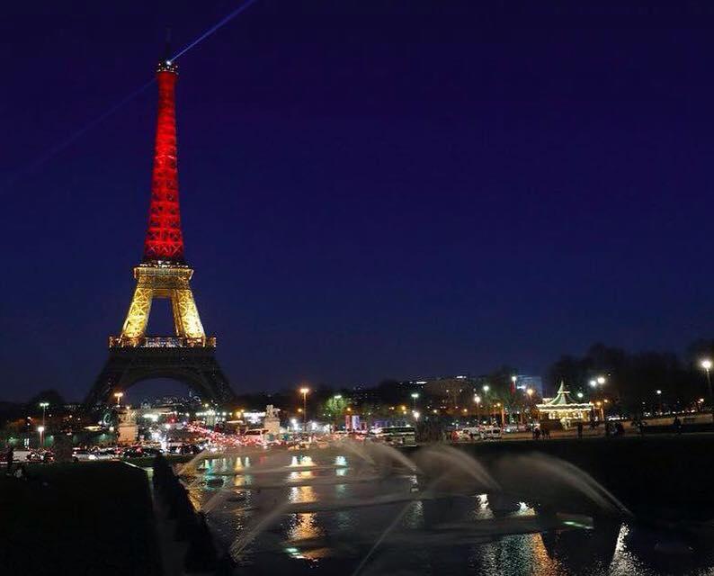 Paris Lights Up Eiffel Tower forBelgium